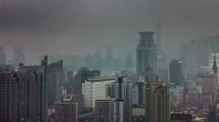 Rainy day panorama 4k time lapse from shanghai city Stock Footage