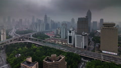 Rainy cloudy panoramic traffic flyover road 4k time lapse from shanghai Stock Footage