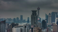 Cloudy day panoramic 4k time lapse from shanghai roof top Stock Footage