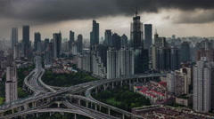 Rainy cloudy day shanghai traffic interchange road 4k time lapse Stock Footage