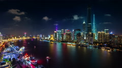 Colored night light shanghai city panoramic 4k time lapse Stock Footage