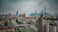 Colored cityscpape panoramic 4k time lapse from shanghai roof top Stock Footage