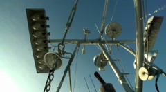 Skyward view of a fish cutters mast with equipment. Stock Footage