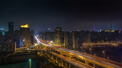 night light traffic shanghai road 4k time lapse from the roof - stock footage