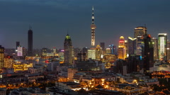 From day till night light panorama 4k time lapse from shanghai Stock Footage