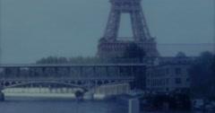 Paris Eifel Tower Train Bridge 60s Vintage Stock Footage