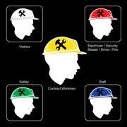 Construction Site warning - Safety Helmet Colors - stock illustration