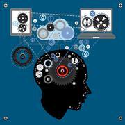 Human brain communicating with technology - stock illustration