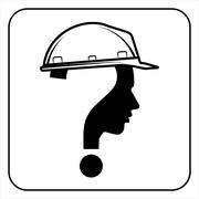 Modern worker man sign with question mark - stock illustration