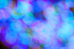 Colorful Holiday Lights Create Blue Bokeh - stock photo