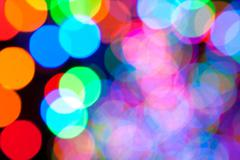 Colorful Holiday Lights Create Bokeh Background Stock Photos