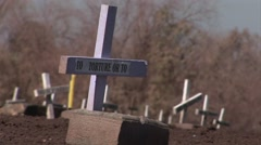 Crosses mark graves of people who are not forgotten. - stock footage
