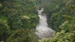 Rushing Waterfall in Rain Forrest - stock footage