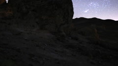 3 Axis Motion Control Astro Time Lapse of Stars & Rock Formation -Zoom Out- Stock Footage