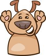 mood happy dog cartoon illustration - stock illustration