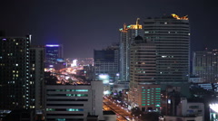 night city lights and traffic in Bangkok as abstract background - stock footage