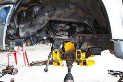 Suspension assembly of an off-road vehicle . Stock Photos