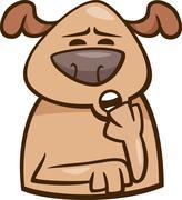 mood sleepy dog cartoon illustration - stock illustration