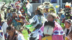 Enthusiastic Pow Wow dancing Stock Footage
