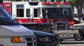 Close Up Front Of Fire Truck At Scene Of Car Wreck 4k or 4k+ Resolution