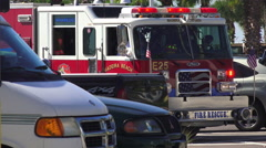 Close Up Front Of Fire Truck At Scene Of Car Wreck Stock Footage