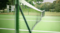 Daylight Shot of Net at Tennis Court from Inside of the Court Stock Footage