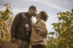 Black couple drinking wine in vineyard Kuvituskuvat