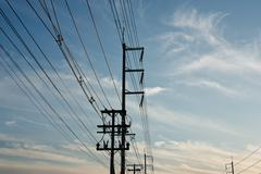 High voltage power pole. - stock photo