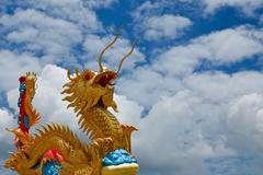 Golden dragon statue . - stock photo