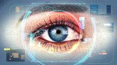 Human Eye Scan Technology Interface 4K Stock Footage