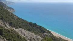 Exotic island, beautiful seashore, mountain relief on Mediterranean island. - stock footage