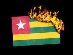 Flag burning - Togo Stock Illustration