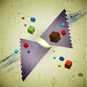 80s styled flying cubes Stock Illustration