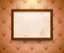 Aged frame on the wall Stock Illustration