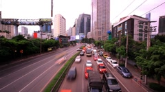 Traffic in Bangkok, Thailand. Advertising board near the road. Timelapse speed Stock Footage