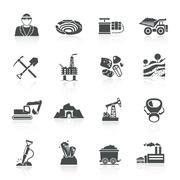 Mining Icons Black - stock illustration