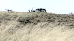 A car sits on a hill with the door open, and grass blows in the wind. Stock Footage