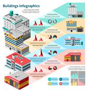 Buildings Infographics Set Stock Illustration