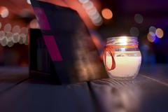 Candle in a restaurant - stock photo
