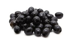 Pitted black olives in oil Stock Photos