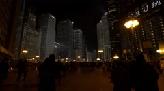 Evening walk in downtown Chicago Stock Footage