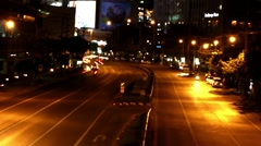 Bokeh of Evening traffic jam on road in city. HD. 1920x1080. Timelapse speed up Stock Footage