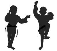 Silhouettes of two little boys - stock illustration