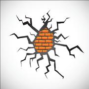 Wall with crack Stock Illustration