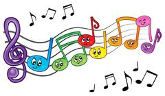 Cartoon music notes theme image - illustration. - stock illustration