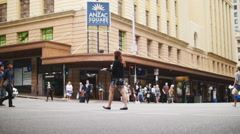 Brisbane general public slow motion dolly Stock Footage