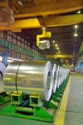 Rolls of steel in a steel plant Stock Photos