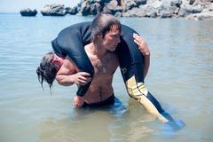 Diver rescue Stock Photos