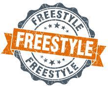 freestyle orange vintage seal isolated on white - stock illustration