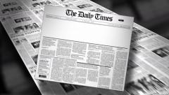Stock Video Footage of Blank Newspaper Headline (Reveal and Loop) Animation